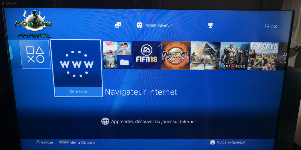 Menu PS4 hack Internet