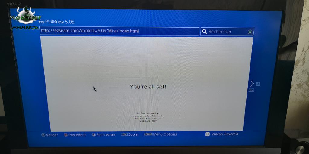 PS4 hack Internet 5.05 Mira erreur
